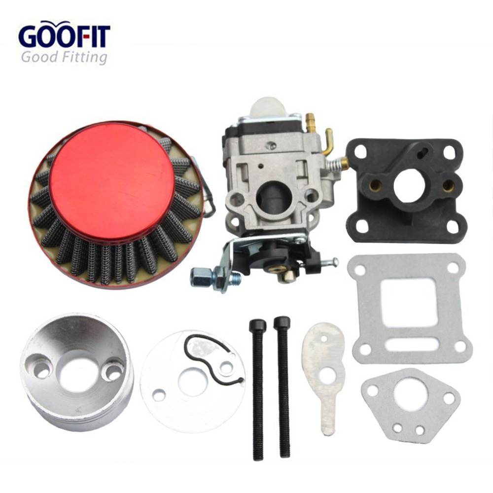 GOOFIT 15mm <font><b>Carburetor</b></font> <font><b>Air</b></font> <font><b>Filter</b></font> Carburettor Kit <font><b>Carb</b></font> r <font><b>Stack</b></font> 49cc <font><b>Mini</b></font> ATV Dirt Pocket Bike Racing motorcycle Group-77