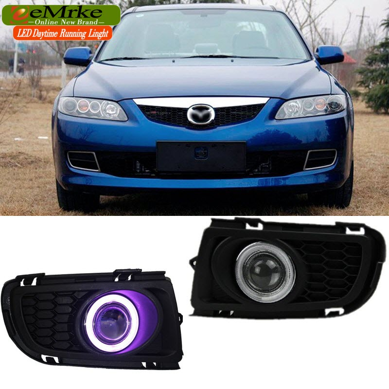 Car Styling LED Daytime Running Lights For Mazda 6 COB Angel Eye DRL Fog Lamp H11 55W Halogen Bulbs for mazda 3 axela 2014 car led drl cob angel eye projector lens halogen fog lamp daytime running lights 2pcs