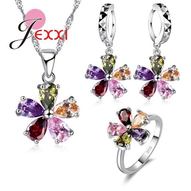 Belle fleur femmes filles fête cristal bijoux ensemble 925 en argent Sterling collier boucles d'oreilles ensemble vacances cadeau en gros