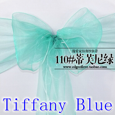 Tiffany Color Organza Sash Chair Sash Crystal Sash Wedding Party Hotel Show Decoration Shimmer Shiny Bow Tie Chair Band