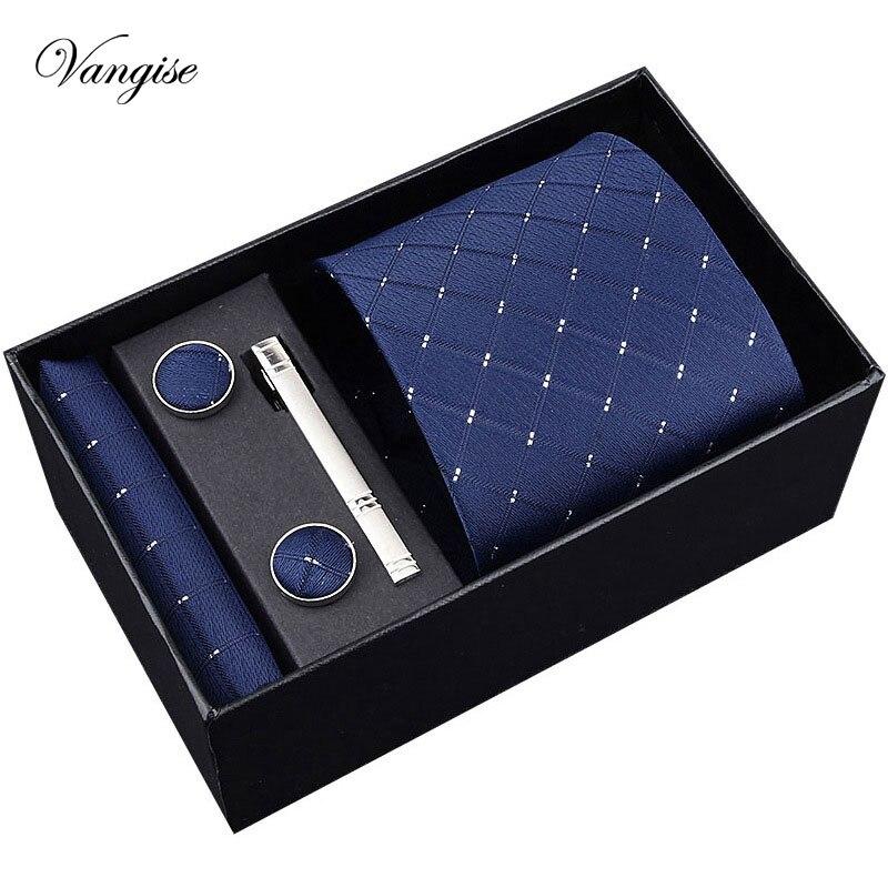 Vangise Promo Men's Tie 8cm Width Blue Plaid Formal Necktie Handkerchief Cufflinks&clips Sets  Discount Neckties For Wedding