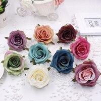 50pcs/lot simulation flower head high quality rose silk flowers DIY artificial flower heads wedding background wall home decor