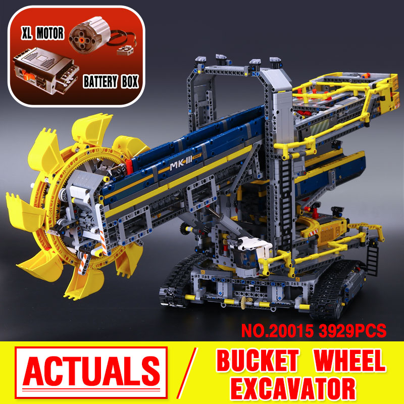 2016 New LEPIN 20015 Technic Bucket Wheel Excavator Model Building Kit  Blocks Brick Compatible Toy Gift 42055 bwl 01 tyrannosaurus dinosaur skeleton model excavation archaeology toy kit white