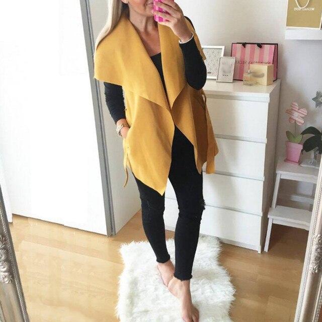 Женщины Vintage Жилет 2017 Осень Дамы Отворот Рукавов Свободные Тонкий Встроенная Куртки Шерстяные Смеси Твердых Пиджаки Повседневная Пальто
