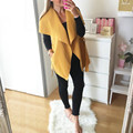 Mujeres vintage chaleco 2017 otoño señoras sin mangas de la solapa suelta chaqueta ajustada delgado de lana mezcla outwear solid casual abrigos