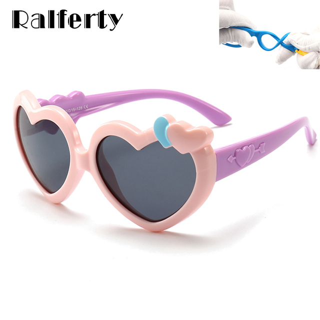 f078f943e3 Ralferty 2018 Heart Shaped Sunglasses Kids Girls Cute Pink Sun Glasses  UV400 Child Polarized Sunglass Eyewear