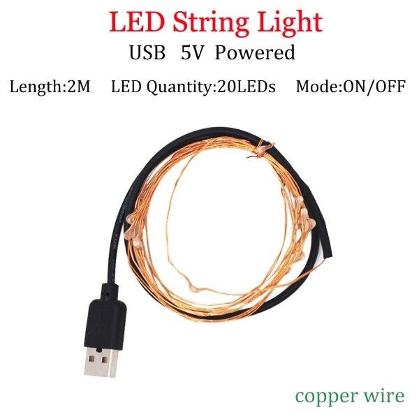 Светодиодный светильник-гирлянда s 10 м 5 м 2 м, серебряная гирлянда, украшение для дома, Рождества, свадьбы, вечеринки, питание от батареи 5 В, USB, сказочный светильник - Испускаемый цвет: 2m USB Copperpowered
