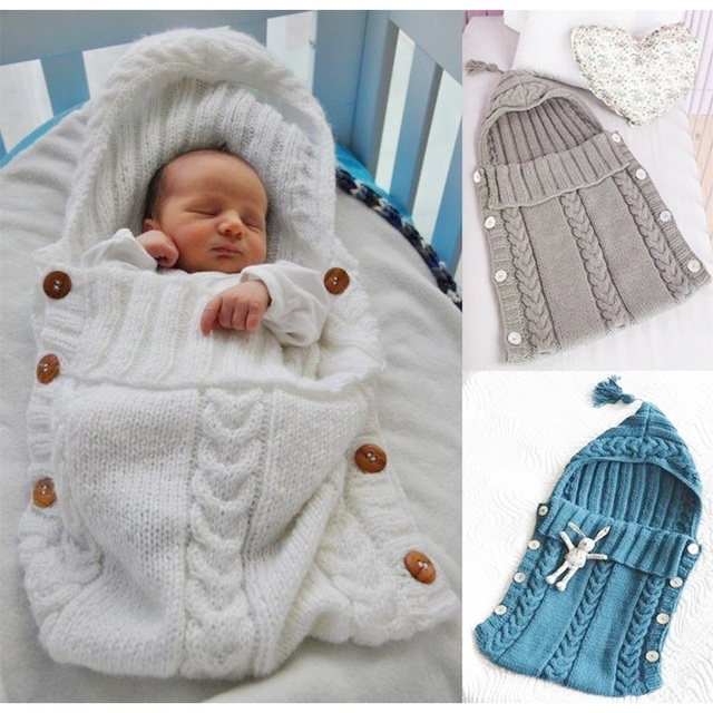 3874c068f knitted Wool Baby Sleeping Bags Cute solid Baby Kids Toddler Newborn ...