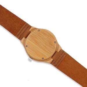 Image 5 - Bamboo Wood Watch Women watches ladies clock leather watchband Wristwatch Luxury Brand relogio femininos 2020 Quartz Watch