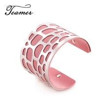 Teamer Fashion Hollow Dot Leather Open Cuff Bracelets Women Men Iron Wide Gold Silver Metal Bracelet Ladies Indian Bangles Gift