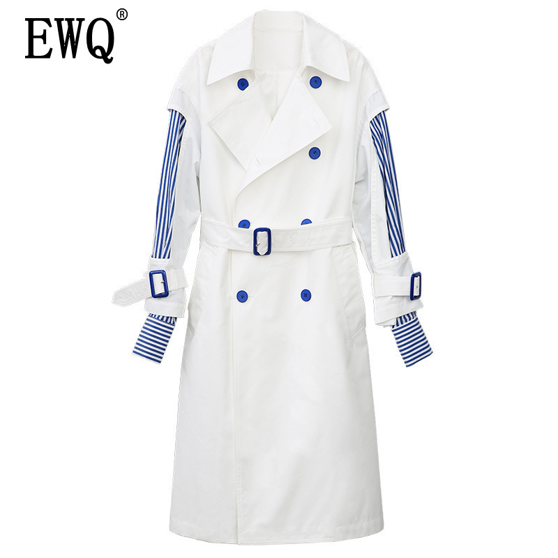 EWQ 2019 new spring fashion women clothing turn down collar full sleeves striped patchwork double breasted