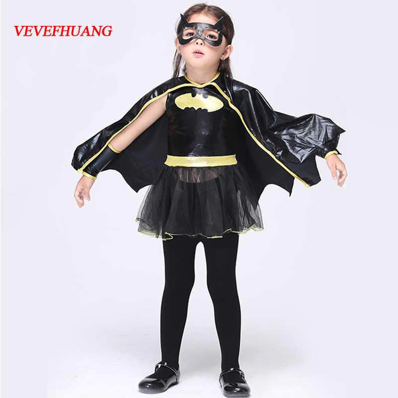 Vevefhuang子動物コスプレかわいいバット衣装子供ハロウィン衣装のための女の子黒ジャンプスーツ接続翼コスプレバットマン