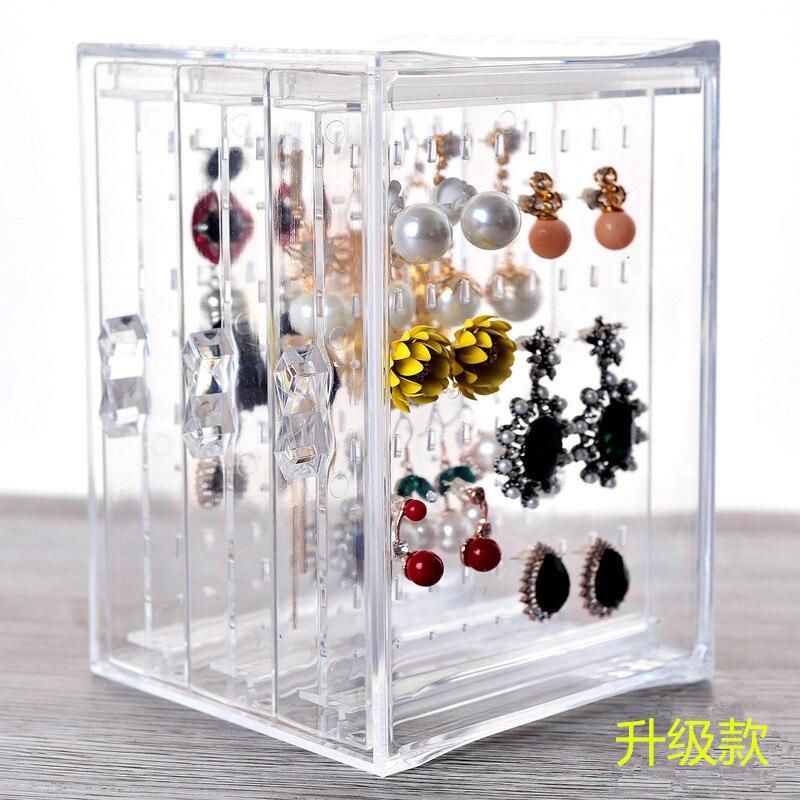 The new earrings shelf Transparent wearing earrings receive box Dustproof jewelry display