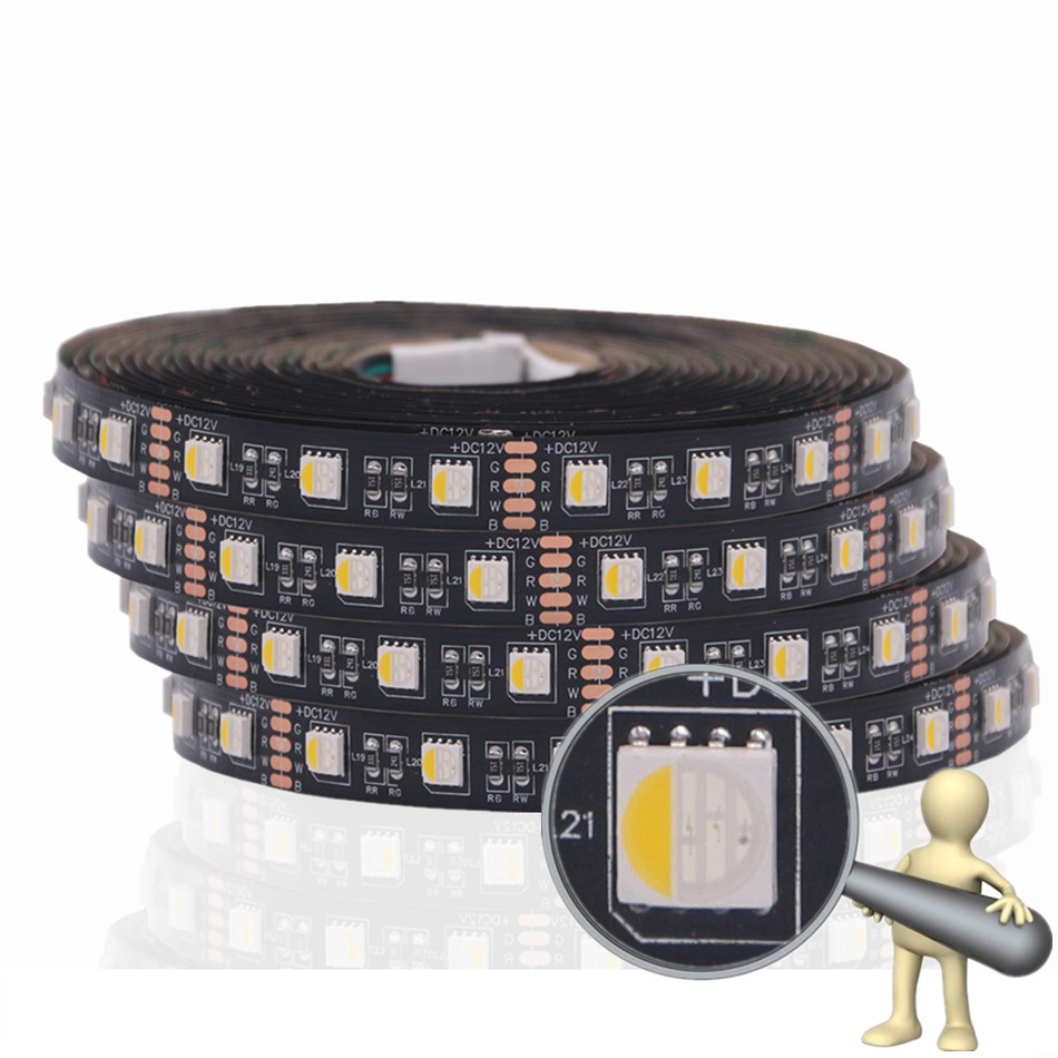 BEIYUN SMD 5050 4 in 1 RGBW RGBWW LED Strip Waterproof 5M 300LED Black Panel DC 12V LED Light Strips Flexible Tape Home Lighting