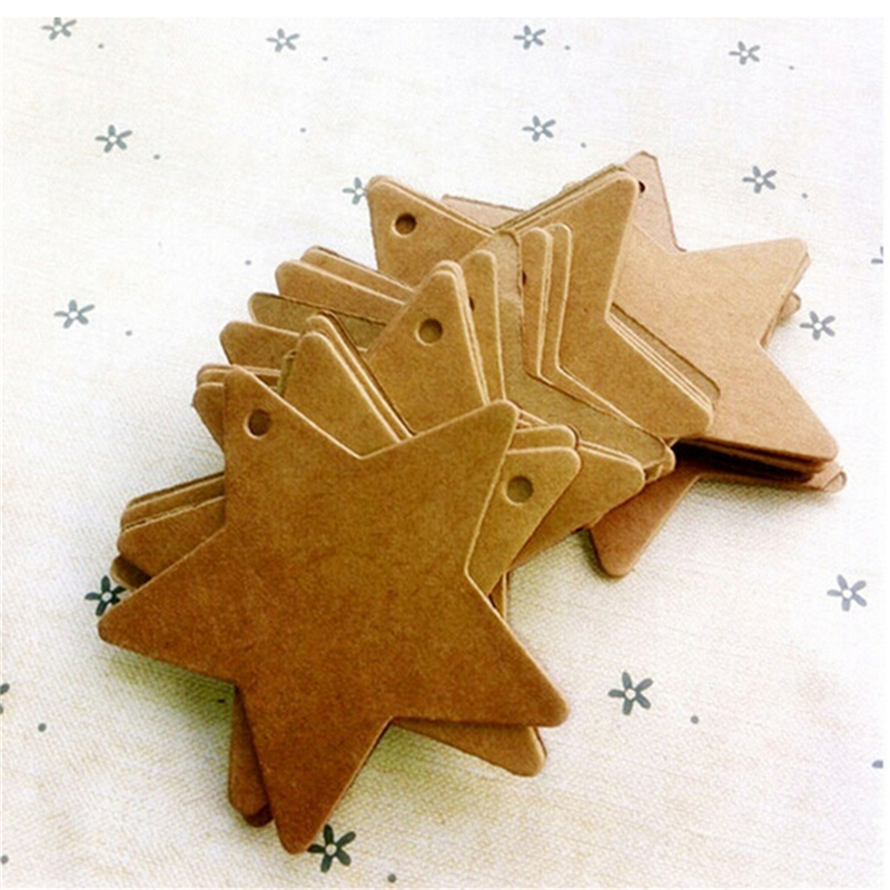 100 Pcs Star Kraft Paper Label Price Tags Wedding Christmas Halloween Party Card Luggage Tags Packaging Labels