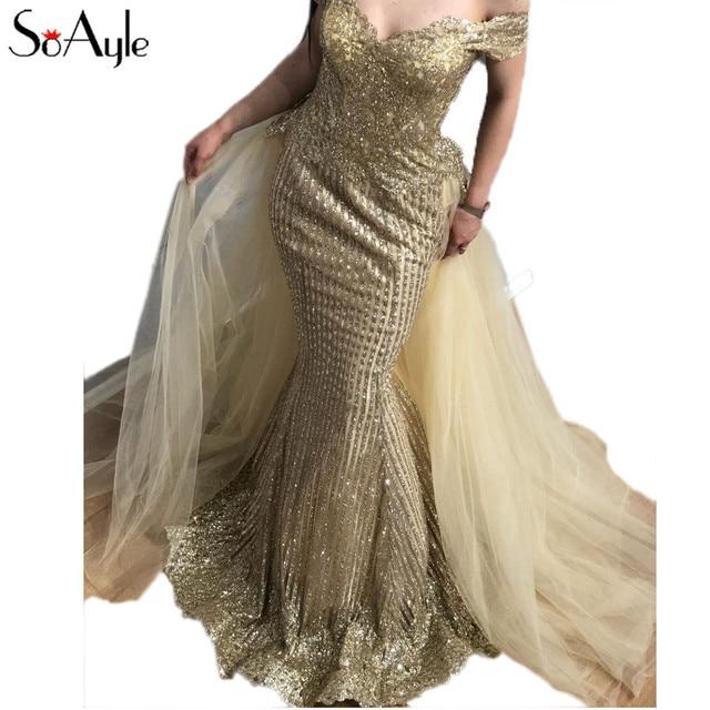 SoAyle Luxurious Prom Dresses 2018 Gold Sequined Mermaid Prom Dress  Sleeveless Wedding Evening dresses vestido de noiva Longo 0e4af9dbe8e9