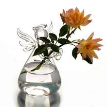Горячая милый прозрачный стеклянный Ангел форма цветок растение стенд подвесная гидропонная ваза домашний офисный, Свадебный декор