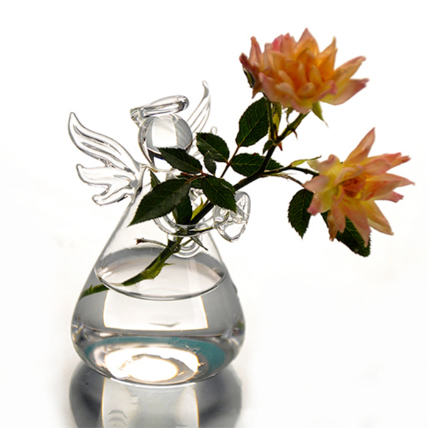 Hot Cute Clear Glass Angel Shape Flower Plant Stand Hanging Vase Hydroponic Home Office Wedding Decor