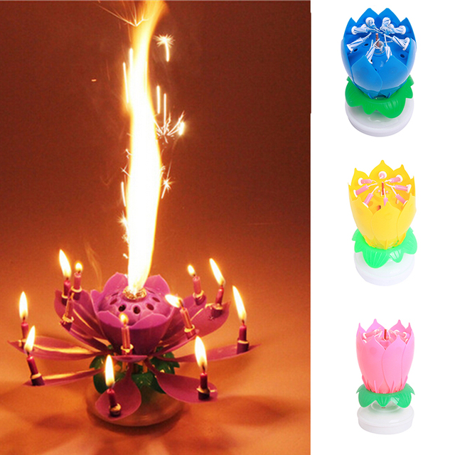 Beautiful Musical Lotus Flower Happy Birthday Party Gift Rotating Lights Decoration 8 14 Candles Lamp