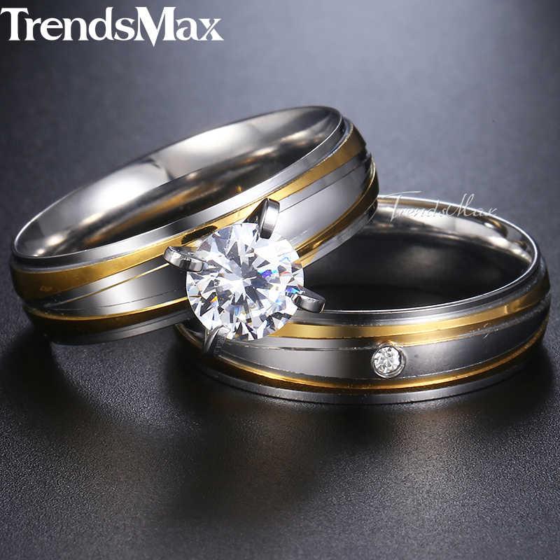 Trendsmax บุรุษสตรีงานแต่งงานแหวน CZ Stone ไม่สม่ำเสมอ STRIPES Gold Silver TONE สแตนเลสหมั้นแหวน KKR141