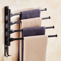Nordic Towel Rack Black Punch Space Aluminum Activity Towel Bar Rotating Double Rod Three Four Bar Bathroom Storage Rack