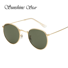 Sunshine Star New Men Retro Round Alloy Frame Sunglasses Brand Designer Women Classic Eyewear Oculos de sol