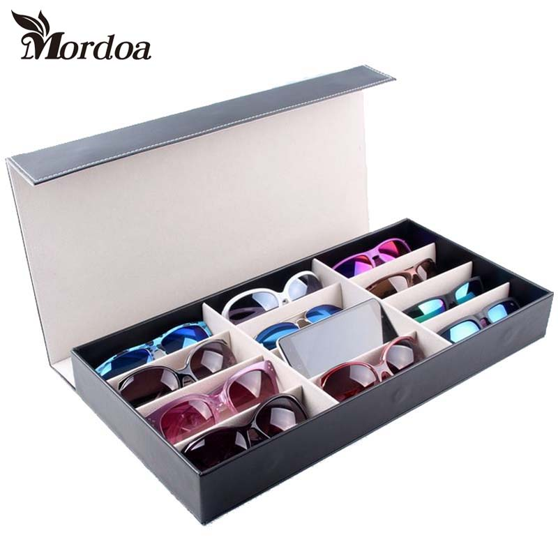 Mordoa New Style 12 Grids Glasses Necklaces Jewelry Rack Display Storage Organizer Boxes Show Case 3d Glasses Display Rack/Shelf mordoa 12pcs glasses storage display case box eyeglass sunglasses optical display organizer frames tray 3d glasses display rack