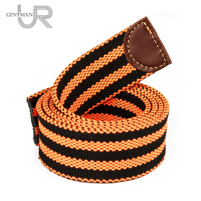 St. George Belt Without Buckle Canvas Straps Victory Colors Belt Orange And Black Stripes Strap