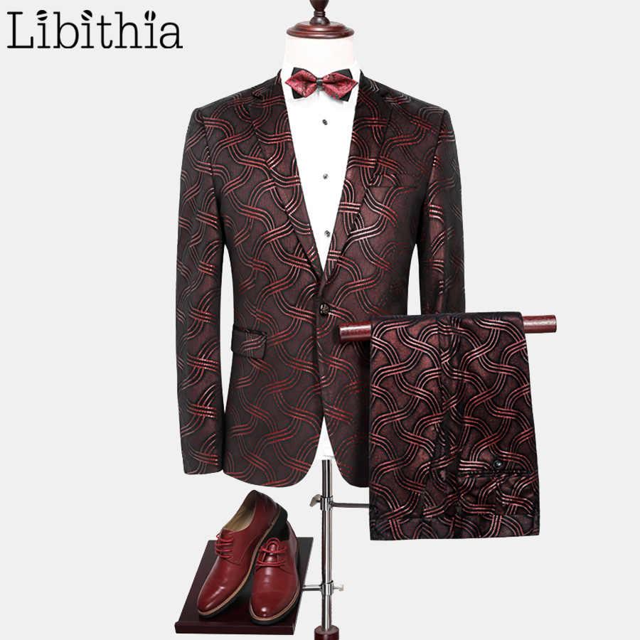 男性2ピース1ボタン柄スーツ結婚式パーティーブレザースリムフィットファッションジャケットパンツ黒高級服masculino f112