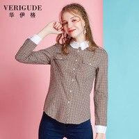Veri Gude Spring And Fall Women Plaid Blouse Long Sleeve Plaid Shirt Free Shipping Slim Fit