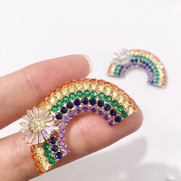Luxury Zircon and Crystal Rainbow Brooches for Women Copper Micro Paving CZ Brooch Pin Fashion Dress Coat Accessories
