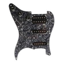 купить TOP!-Electric Guitar Pickguard Pickups Loaded Prewired 11 Hole SSH Black Pearl онлайн