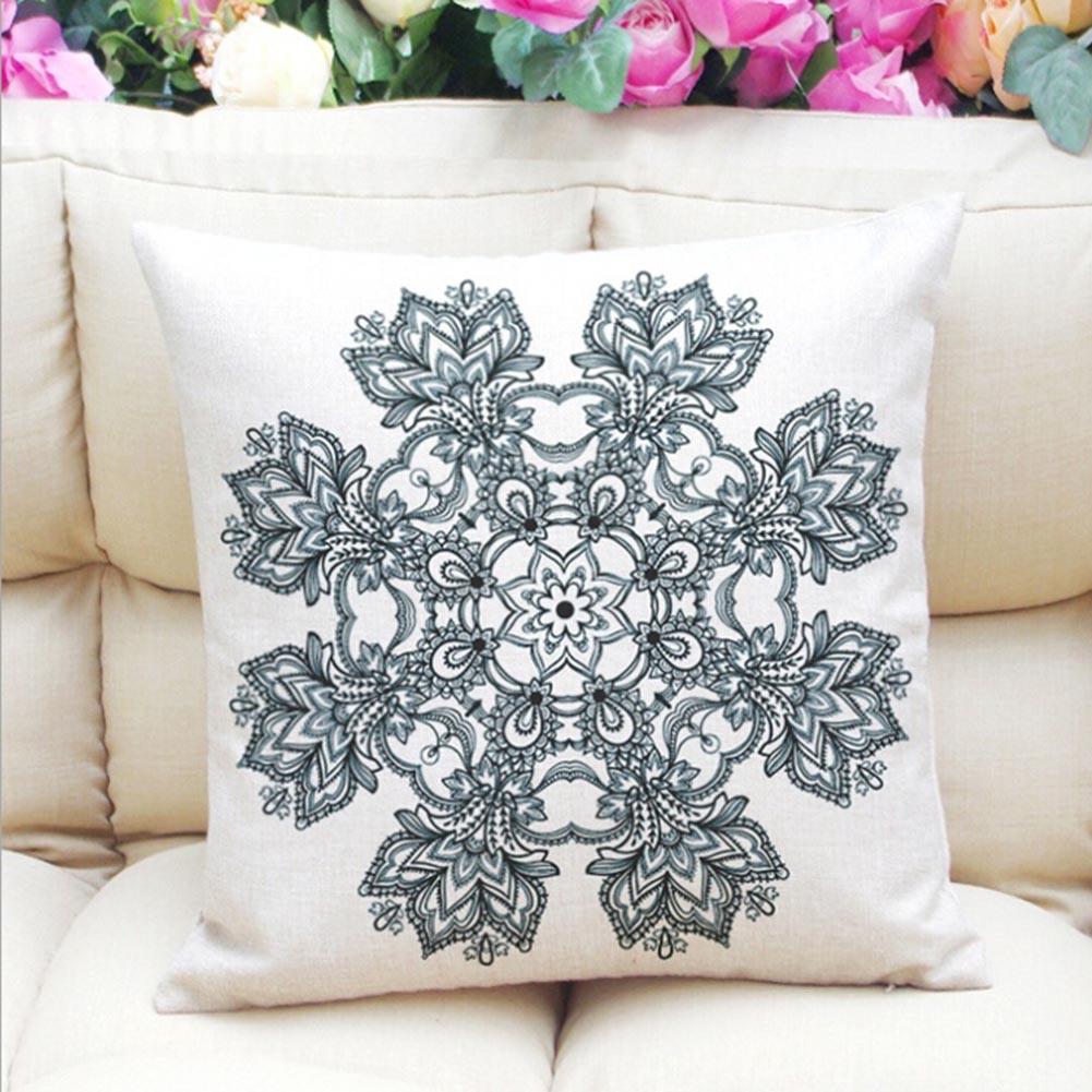 High Quality Geometric Flower Cushion Cover Mandala Pattern Thin Linen Cotton Ramadan Pillow Case Candy Color Baby Decoration
