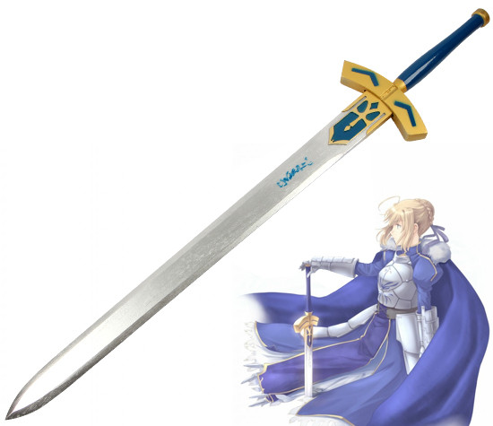 Fate Saber Sword Destiny Guardian Night Blackened King Arthur Vows Victory Wood Sword COS Props Personal Collections Knifes image