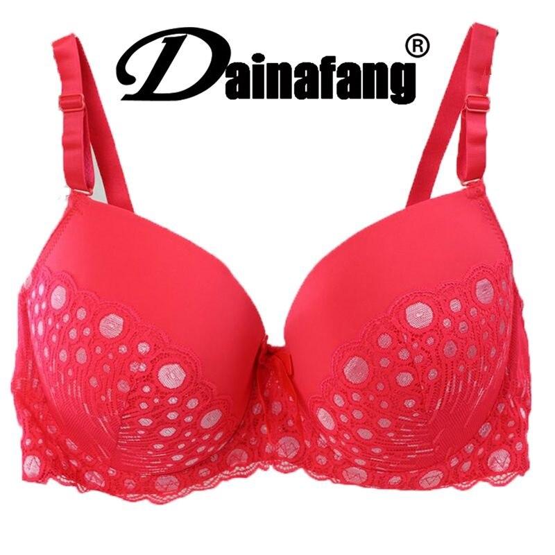 38/85 40/90 42/95 44/100 DE cup stor størrelse push up BH, bomullsprikk sexy undertøy BH-er for kvinner, mote undertøy brassiere