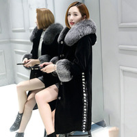 Real fox fur collar cuff and mink fur trim elegant natural wool coats women single breasted real wool jackets 2018 autumn winter