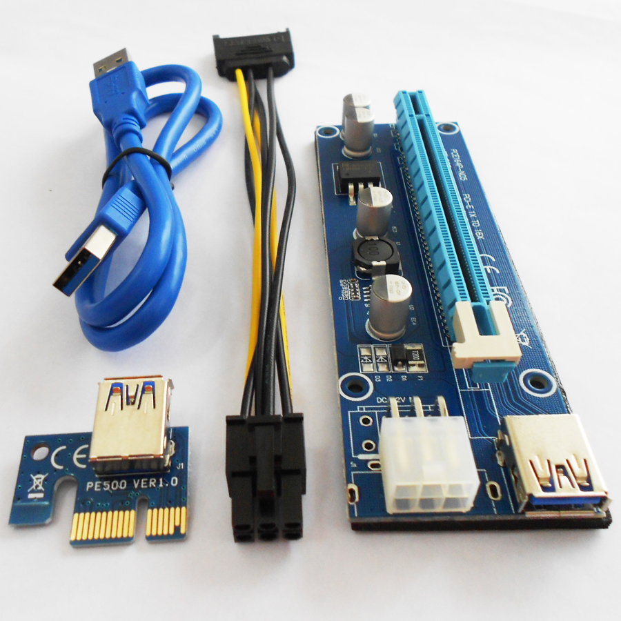 все цены на 100sets/Lot VER 006C PCIe PCI-E PCI Express Riser Card 1x to 16x PCI-E Risers 6Pin Power for BTC Miner Machine Cable онлайн
