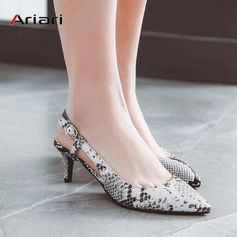 Sexy Snake Print Women Pumps Buckle Strap Slingbacks Sandals Summer Thin Mid Heel Breathable Shoes Women Party Large Size 34-48