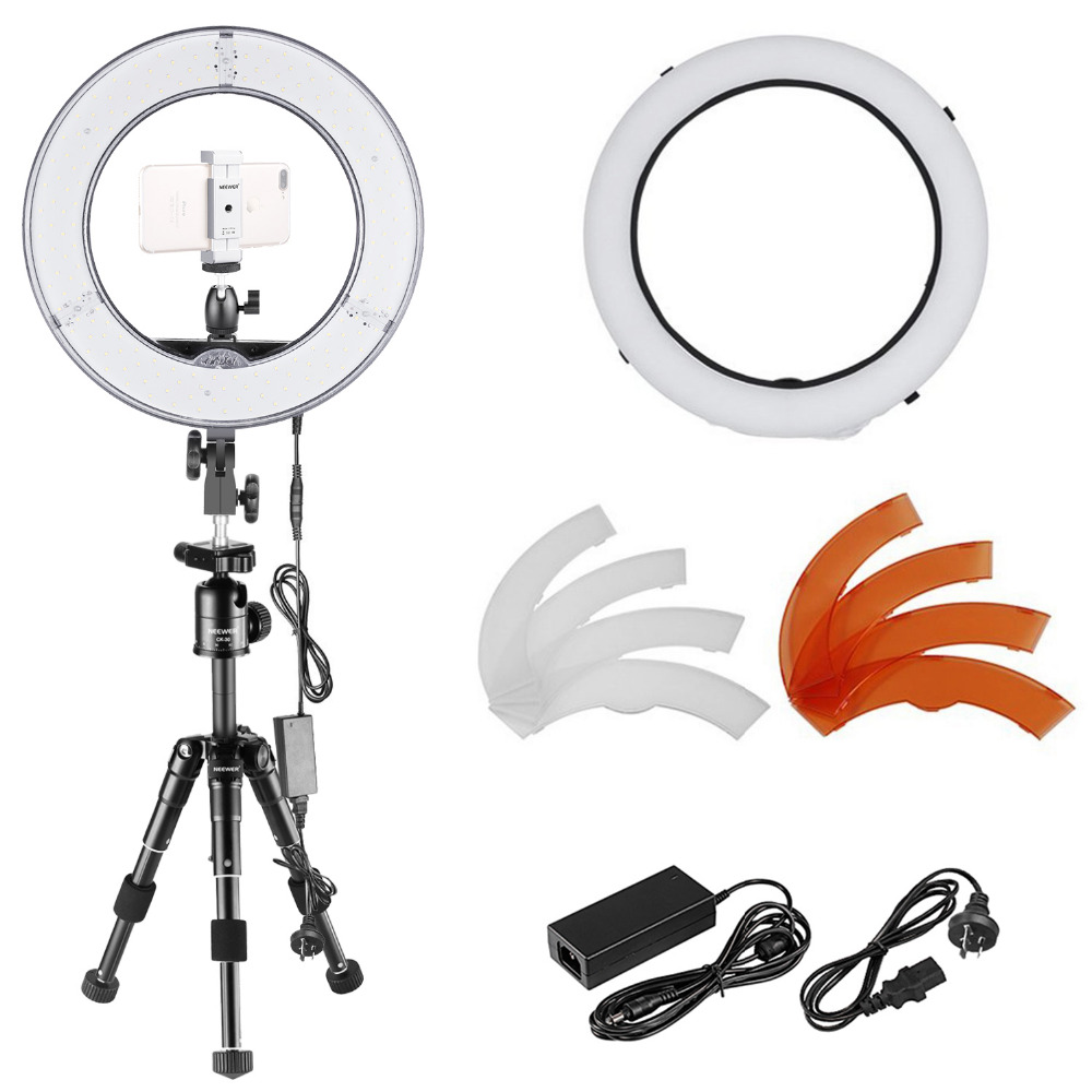 Neewer 14-inch Outer Dimmable SMD LED Ring Light and Tabletop Tripod Stand Kit with Diffuser, Phone Holder, Filters