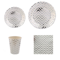 Free Shipping 44pcs Silver Gold Foil Disposable Tableware Party Paper Plates Cups Baby Shower Favor LUHONGPARTY