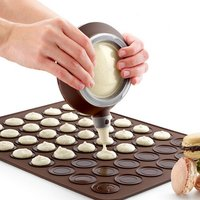 Macarons sets (48-cavity Silicone mat+ 1 cream dispenser with 4 nozzles) Macaron maker baking moulds set tools Oven Kitchen tool