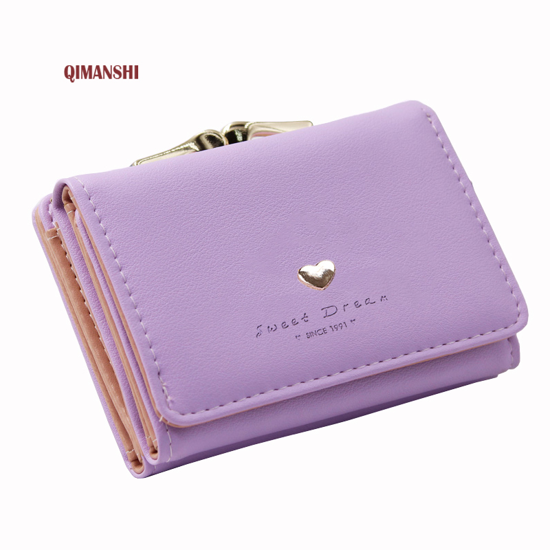 QIMANSHI Women Candy Color Wallet Short Slim Mini Money bag Wallet Coin Card Holders Clip Fashion Small Female Purse Female 2017 purse wallet big capacity female famous brand card holders cellphone pocket gifts for women money bag clutch passport bags