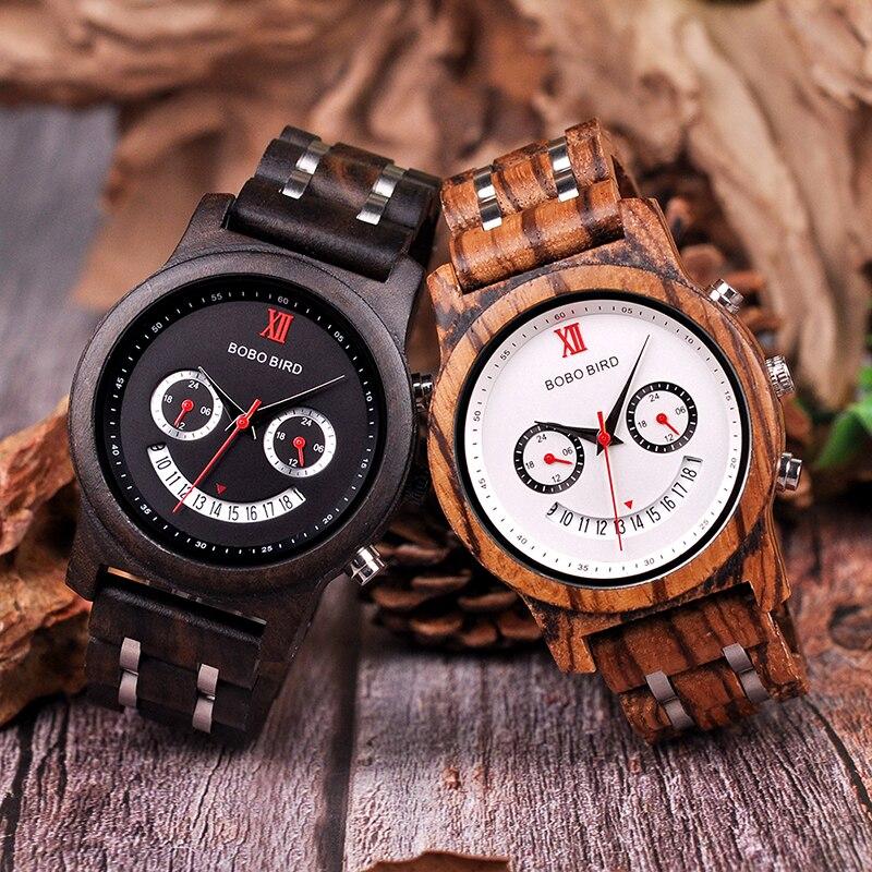 BOBO BIRD Lover's Wood Watch Men Women Smiling Face Wooden Quartz Ladies Wrist Watches Show Date Gift Cuostom Logo Saat Erkek