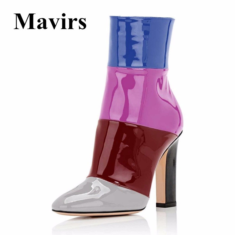 Mavirs Brand 2018 Autumn 12CM Chunky High Heel Women Ankle Boots Multicolored Patent Pointed Toe Side Zipper Shoes US Size 5-15 mavirs brand women ankle boots 2018 pointed toe matt 4 75 inches chunky high heels black gray gold white shoes us size 5 15