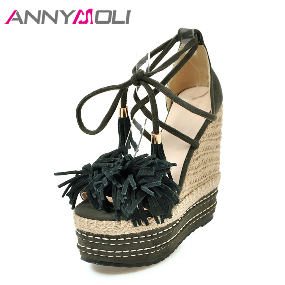 ANNYMOLI Women Sandals Platform Extreme High Heels Summer Shoes Tassel Open Toe Lace Up Party Shoes 13 cm Wedge Small Size 33-39 summer air mesh women sandals fashion 2 colors open toe lace up wedge swing shoes height increasing platform sandals size 35 39