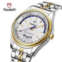NuoduN Genuine Brand Stainless Steel Quartz Watch Men Fashion Business Wristwatch Male Waterproof Rose Gold Clock