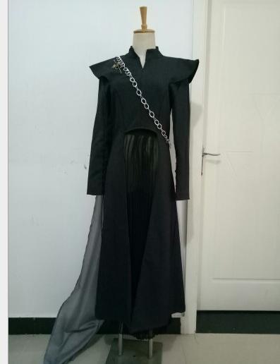Free Shipping Game of Thrones Season 7 Cosplay Daenerys Targaryen Costume Fancy Dress Black Outfit With Cloak Halloween Carnival