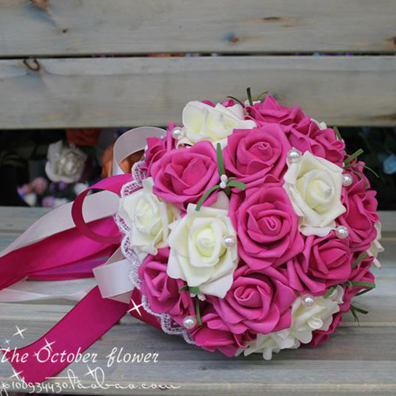 Cheap Korean bride holding flowers bridesmaids holding flowers simulation Rose bridal bouquet ramos de noviaramos de noviahold flowerrose bridal bouquet -
