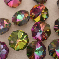 100pcs Lot 14mm Rainbow Crystal Chandelier Parts Octagon Beads In 2 Holes Curtain Strand Or Lamp