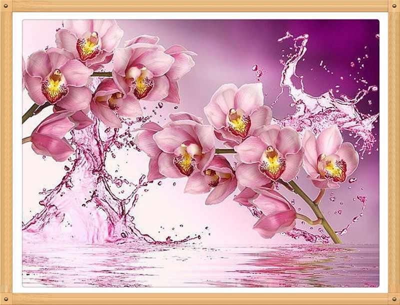 Grande pittura diamante, diamante pittura di fiori, rosa orchidea, foamiran fiori, pittura diamante quadrato